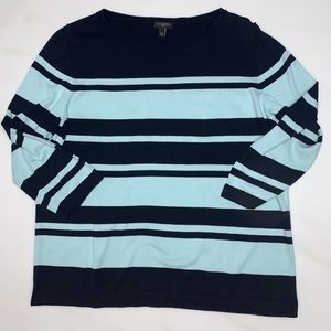 Talbots | crew Neck 3/4 sleeve stripe sweater